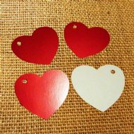 100 Heart Tags In Red – Valentines – Wedding – Wish Tree Tags. No Ribbon Or String.